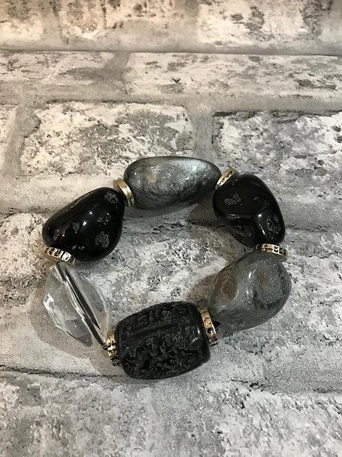 Black, Grey and Clear Stone Bracelet