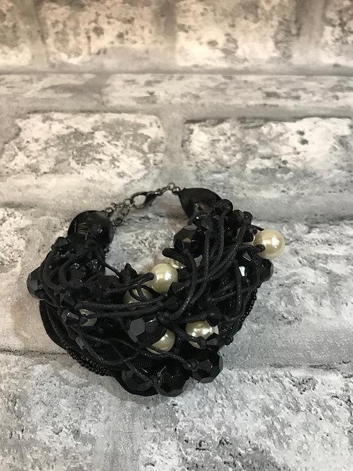 Black and Pearl Wide Bracelet