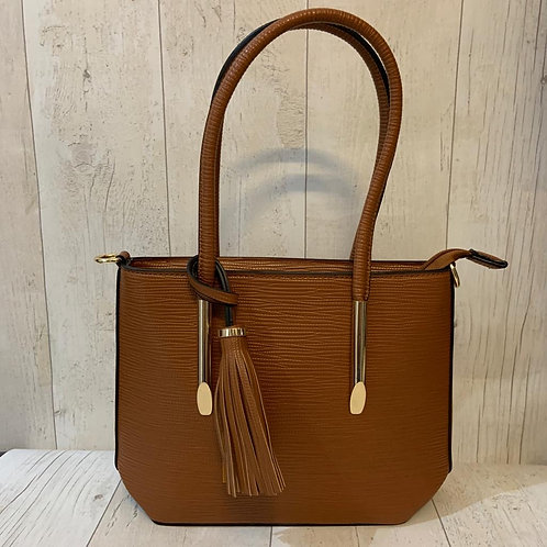 Milan crossbody tote bag with gold detailing and tassel in tan