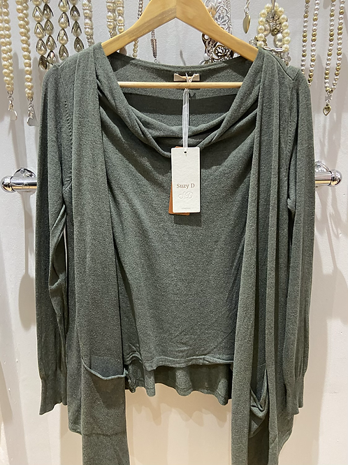 SALE Suzy D top and cardy Olive