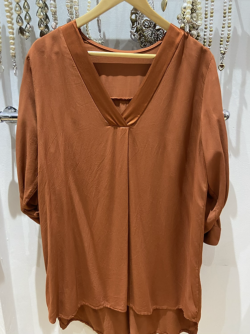 Made in Italy cotton and satin rust top