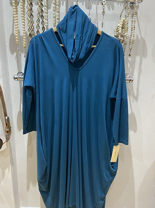 Made in Italy Teal dress with snood one size