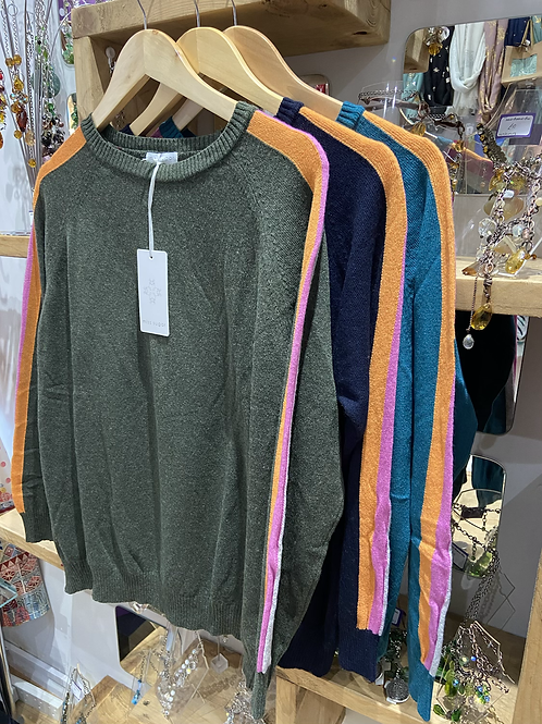 Striped Arm Caahmere jumper choice of colours