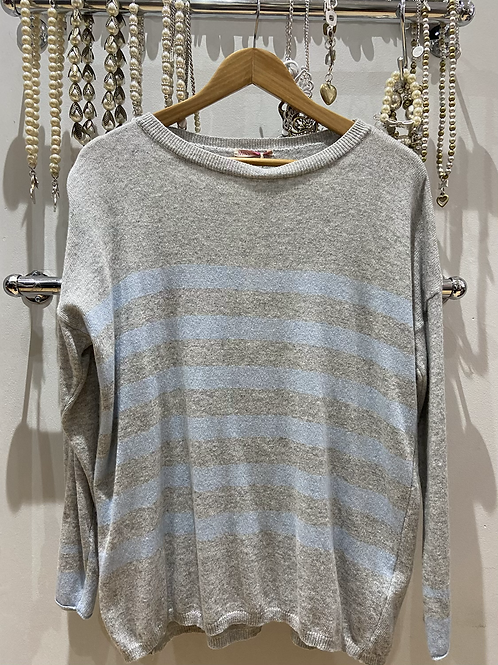 SALE Miss Sugar Cashmere jumper grey blue striped