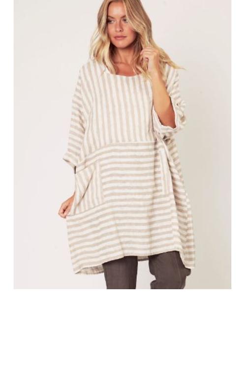 Suzy D Quality Linen Stripe Top