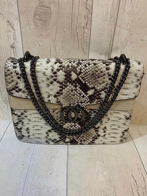 Real leather snake bag grey