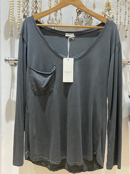 Suzy D pocket top slate grey