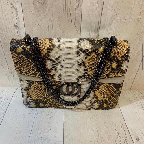 Real leather snake bag yellow