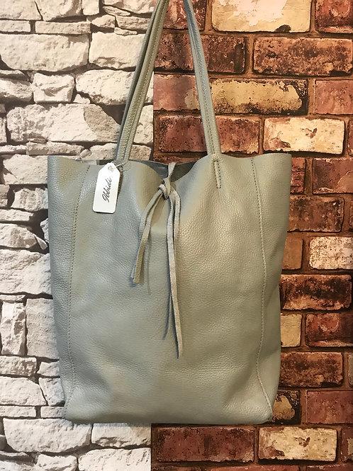 Real leather Italian tote bag grey