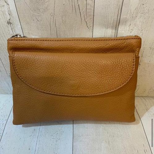 Real leather across body bag tan
