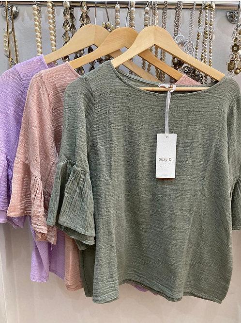 Suzy D Linen/Cotton mix frill sleeve top