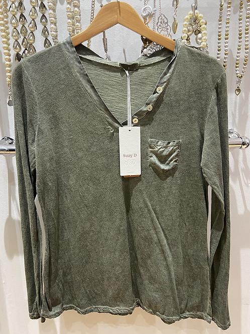Suzy D cotton button v neck top khaki