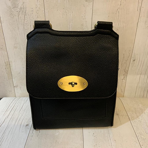 Milan turn clasp crossbody bag in black