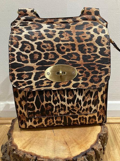 Leopard across body bag Tan and Camel blend