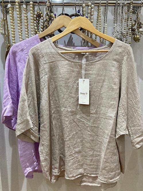 Suzy D Linen Top choice of colours
