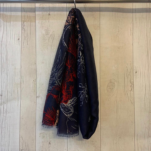 Floral scarf red flower