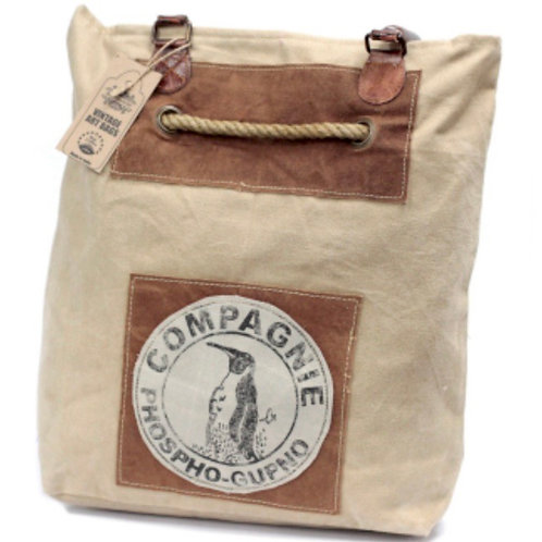 Vintage Cotton Tote bag with real leather handles