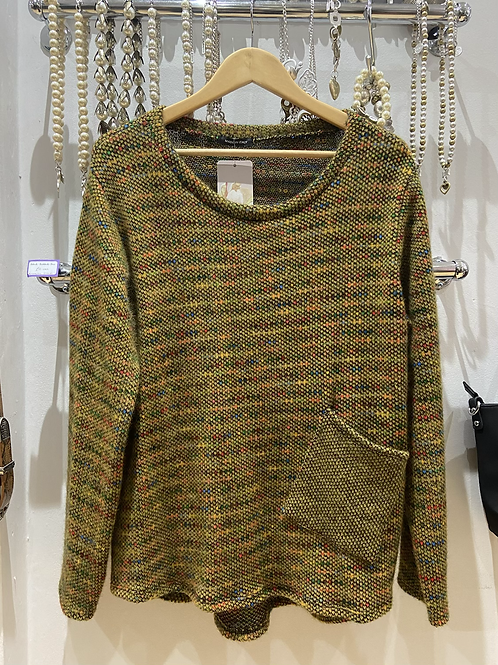 SALE Made in Italy mustard fleck jumper with pocket