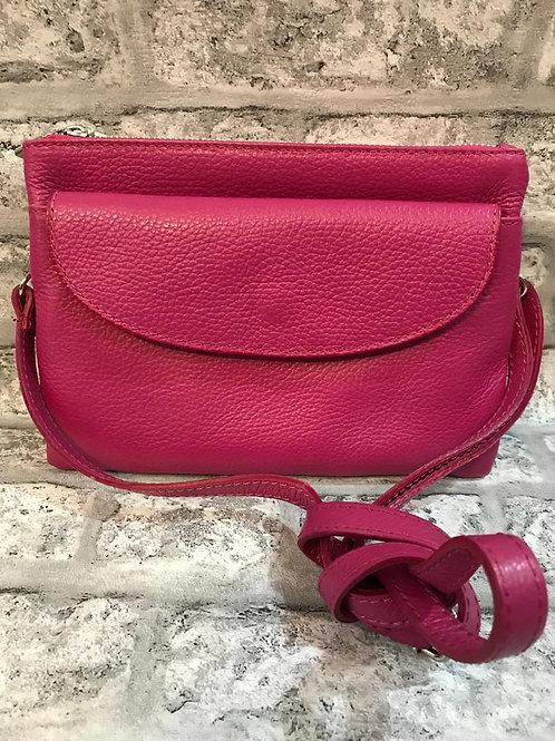 Italian Real Leather Fuchsia Bag