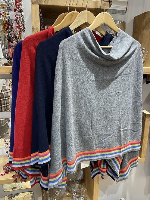 Striped edge Poncho Cashmere mix choice of colours