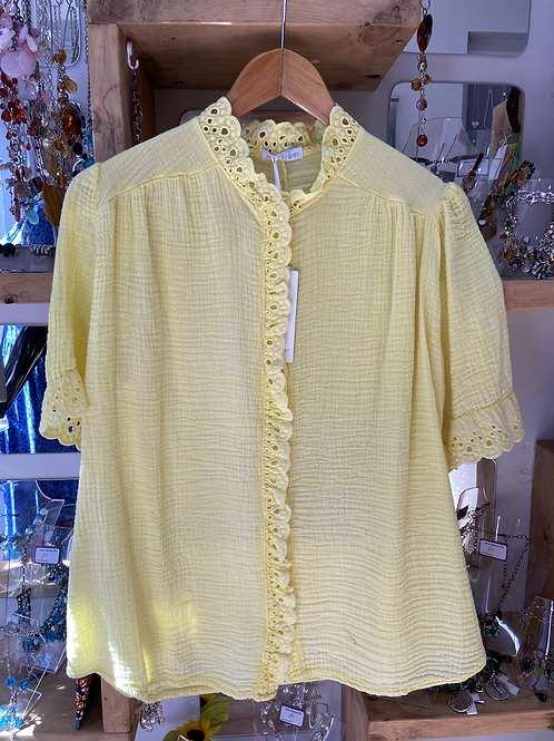 SALE Yellow shorter sleeve frill top