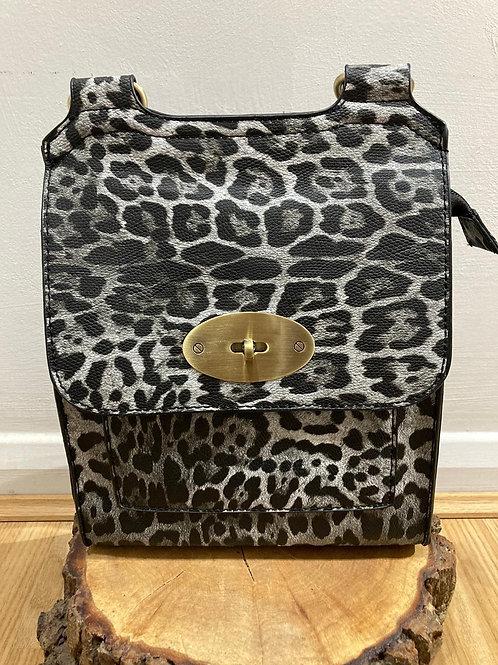 Leopard across body bag Grey tones