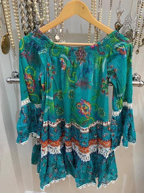 Boho Indian Cotton Tunic/Dress green