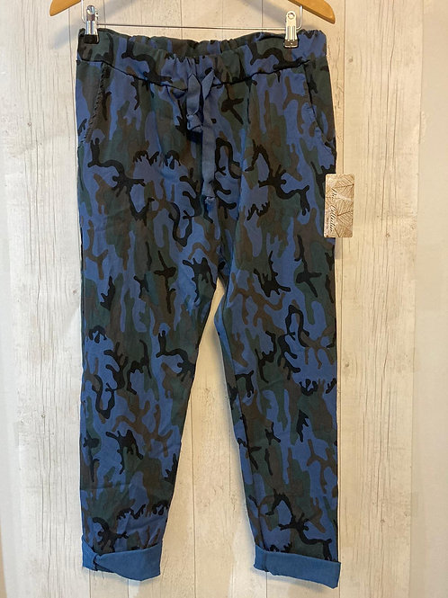 Made in Italy blue camo print stretch pants
