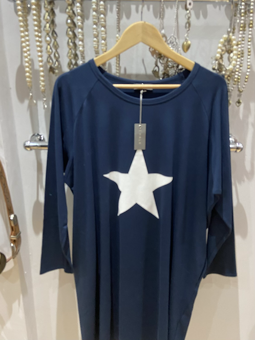 Chalk Brody Navy star dress 100% cotton one size