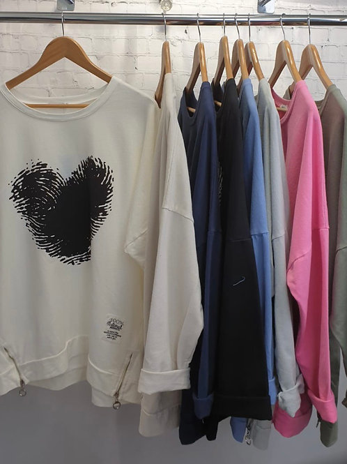 100% Natural Cotton heart sweat top choice of colours