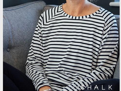 Chalk Robyn Slate Grey stripe top
