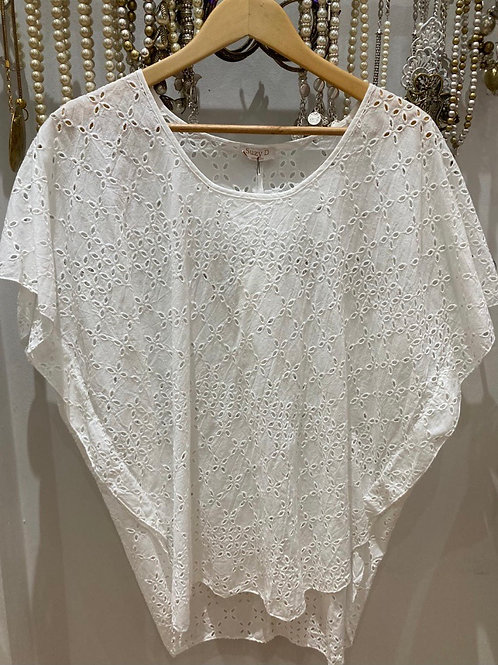 Suzy D Cotton embroidery anglaise Top white