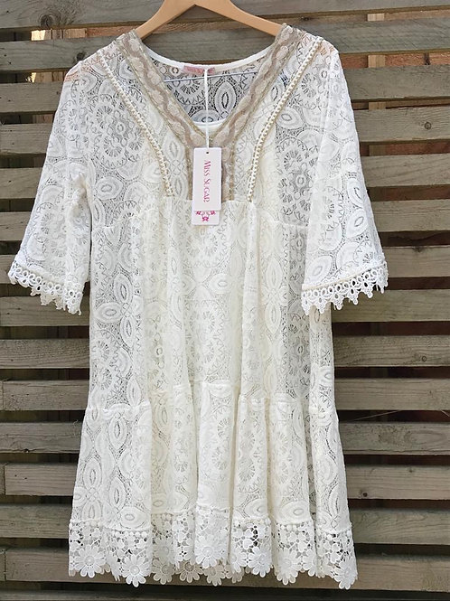 Miss sugar Cream Lace Dress