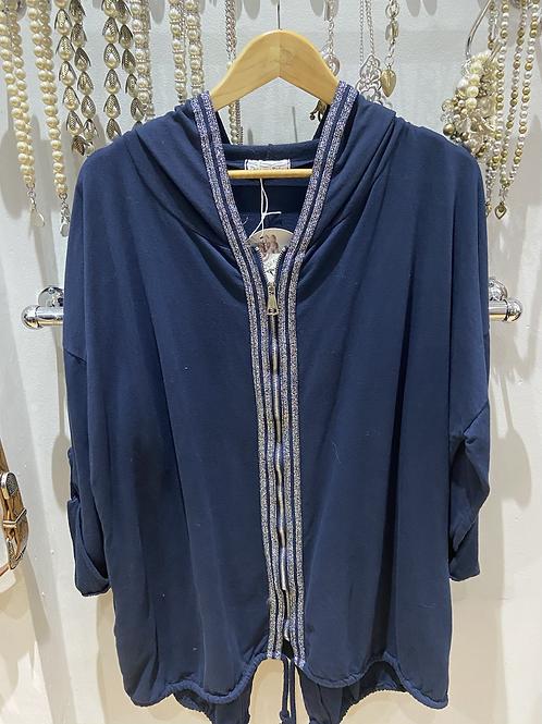 Made in Italy zip hoodie cotton navy
