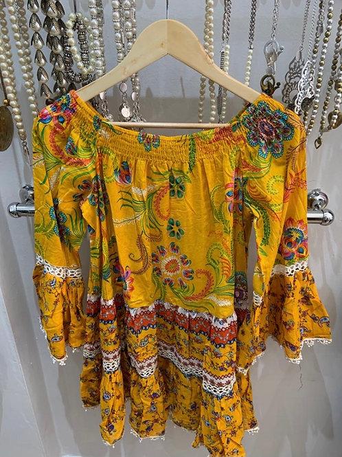 Boho Indian Cotton Yellow Tunic/Dress