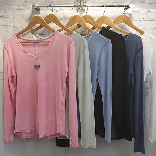 Glitter heart long sleeve cotton top voice of colours