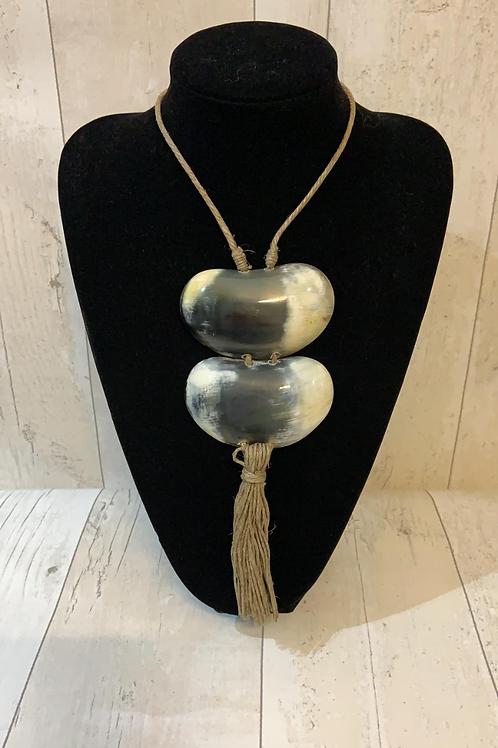 Resin horn necklace Tassle