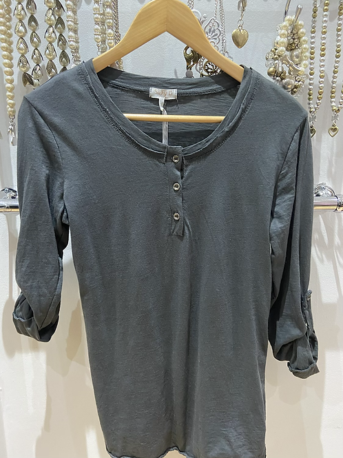 Suzy D Slate Grey Button Up Top