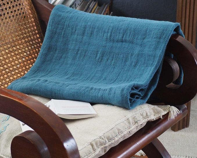 plaid jacquard en chanvre couleur bleu d