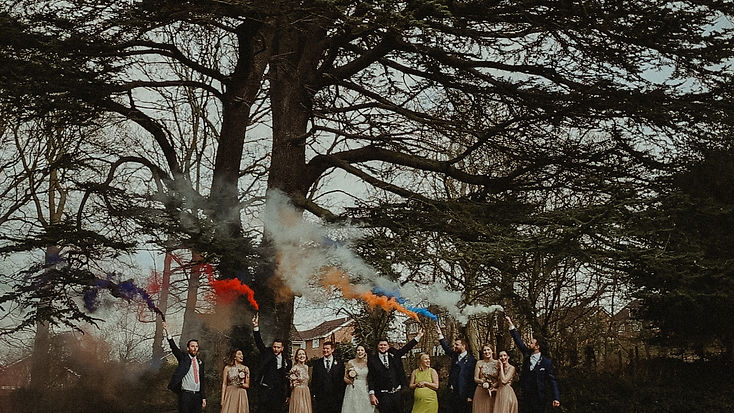 Amy & Adam Wedding | The Barns at Hunsbury Hill | Smoke Bomb