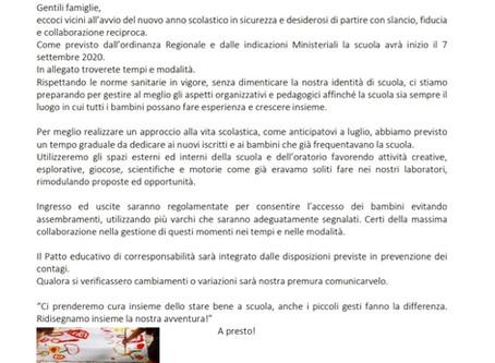 COMUNICAZIONE INIZIO ANNO SCOLASTICO