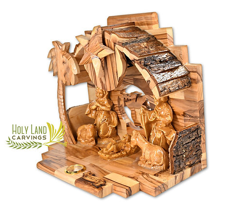 Olive Wood Nativity Scene Set with Bark Roof and Music Box