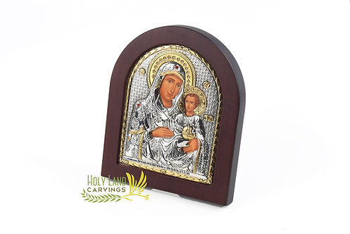 Icon of Mother of God & Baby Jesus, Silver Plated Home Blessing Icon