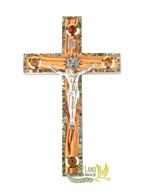 Olive Wood Crucifix Cross with Mother of Pearl Stripe - 3 Sizes