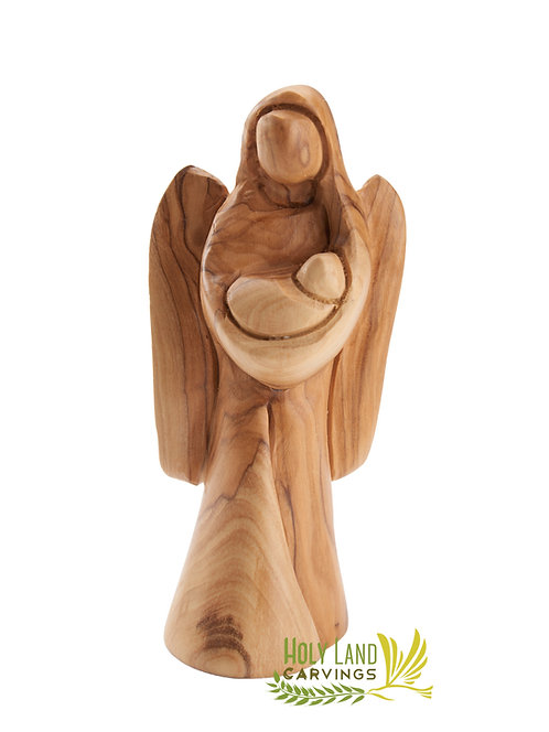 Olive Wood Angel Holding Baby Statue