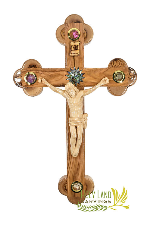 "15"" Large Olive Wood Wall Crucifix with Mother of Pearl Bethlehem Star"