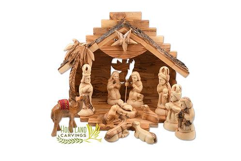 Musical Olive Wood Nativity Scene Set - 13 piece Figurine with Free Camel