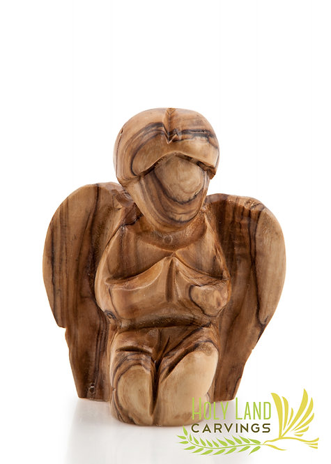 Olive Wood Small Angel Figurine - Faceless