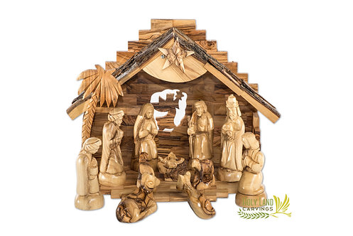 Olive Wood Nativity Set for Christmas - 13 Piece Nativity Scene with Music Box
