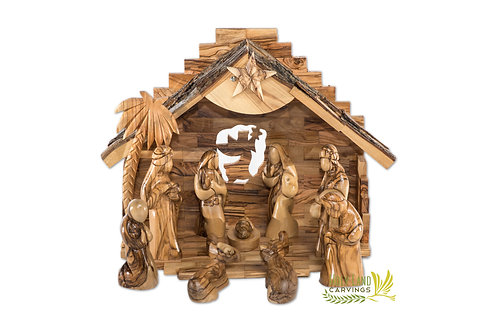 Wooden Nativity Set For Christmas - 13 Piece Faceless Figurines with Music Box